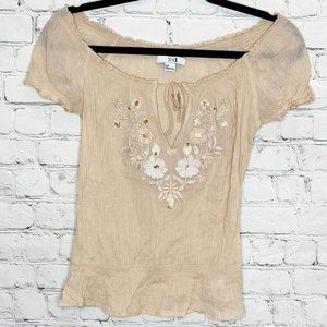FWP OF $30+ XXI crepe off the shoulder top with floral design